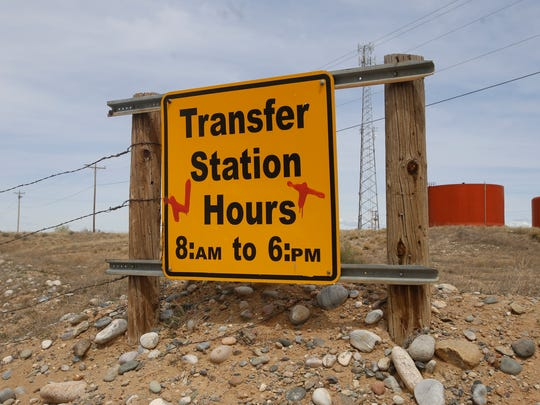 The entrance to Shiprock's solid waste transfer station is pictured April 4.