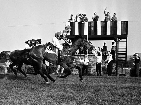 Local Run (8), the horse that wasn't supposed to be able to run on a dry track, became the fifth in the 20-year history of the Iroquois Steeplechase to win it for the second time. The 10-year-old brown gelding, with rider George Sloan, held off Hurst Park, with rider Frank Chapot, in 1961.