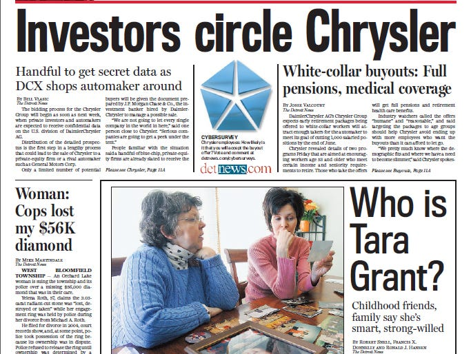 View the front page of The Detroit News each day of the week of February 19, 2007.