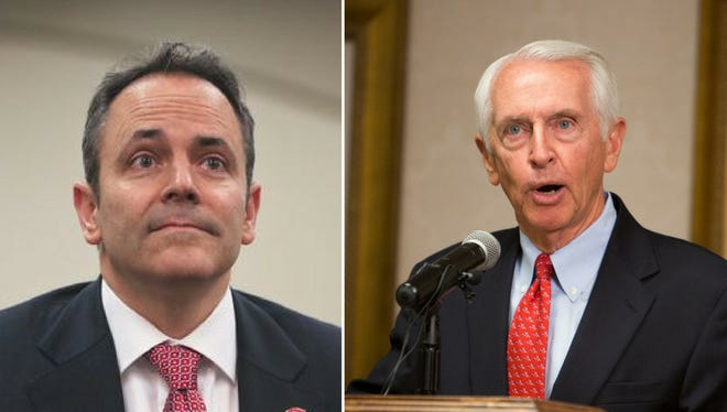 Gov. Matt Bevin, left, and former Gov. Steve Beshear.