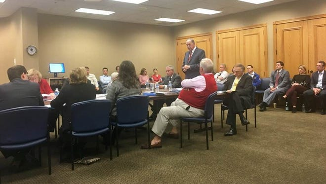 James Mitchell, of Southern Educational Strategies, speaks to Brentwood City Commission during a work session about a potential local school feasibility study the city is considering.