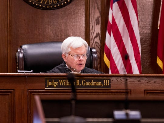 Judge William R. Goodman, III, reads the verdict over to Curtis Shelton Jr., on February 27, 2018.