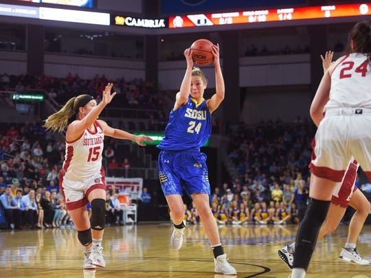 SDSU's Tagyn Larson catches the ball past USD's Taylor