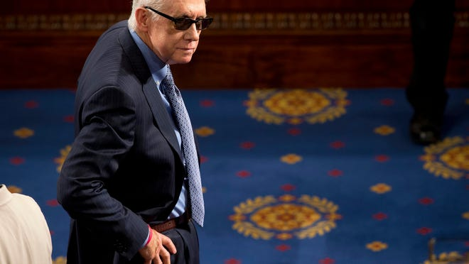"""FILE  In this March 25, 2015 file photo, Senate Minority Leader Harry Reid of Nev. waits on the floor of the House Capitol Hill in Washington for the arrival of Afghanistan's President Ashraf Ghani, who was to speak before  a joint meeting of Congress. Reid is announcing he will not seek re-election to another term. The 75-year-old Reid says in a statement issued by his office Friday that he wants to make sure Democrats regain control of the Senate next year and that it would be """"inappropriate"""" for him to soak up campaign resources when he could be focusing on putting the Democrats back in power. (AP Photo/Pablo Martinez Monsivais, File) ORG XMIT: WX204"""