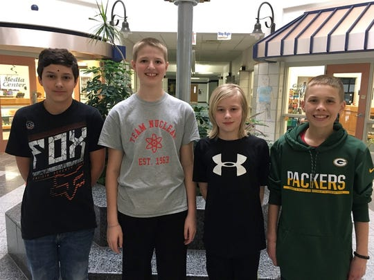 Cole Morehouse, Ben Prunuske, Alec Dettman and Will Hagedorn tested their math skills in seventh grade.