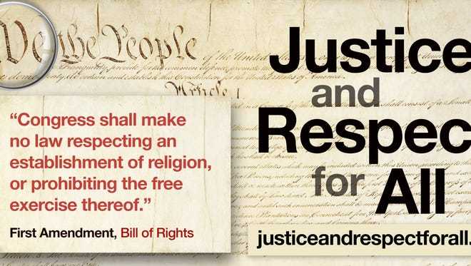A billboard from Justice and Respect for All.