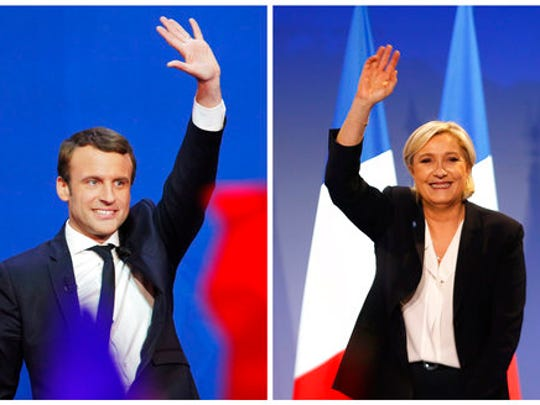 In this photo combination, French centrist presidential