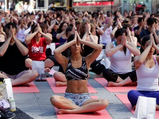 Times Square summer solstice yoga