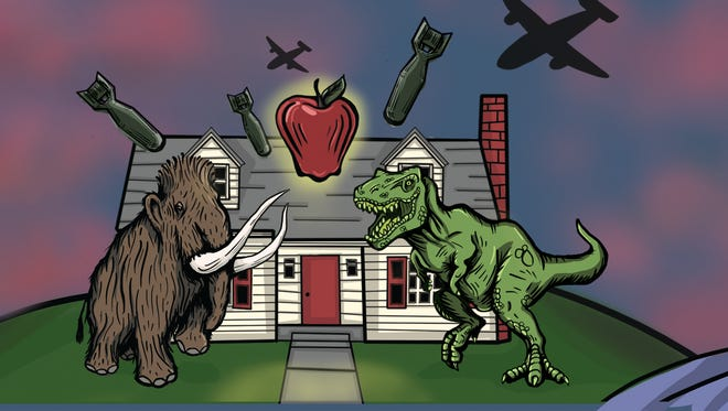 "Like many theater companies, First Stage features dinosaurs in its promotional illustration for Madison native Thornton Wilder's ""The Skin of Our Teeth."""