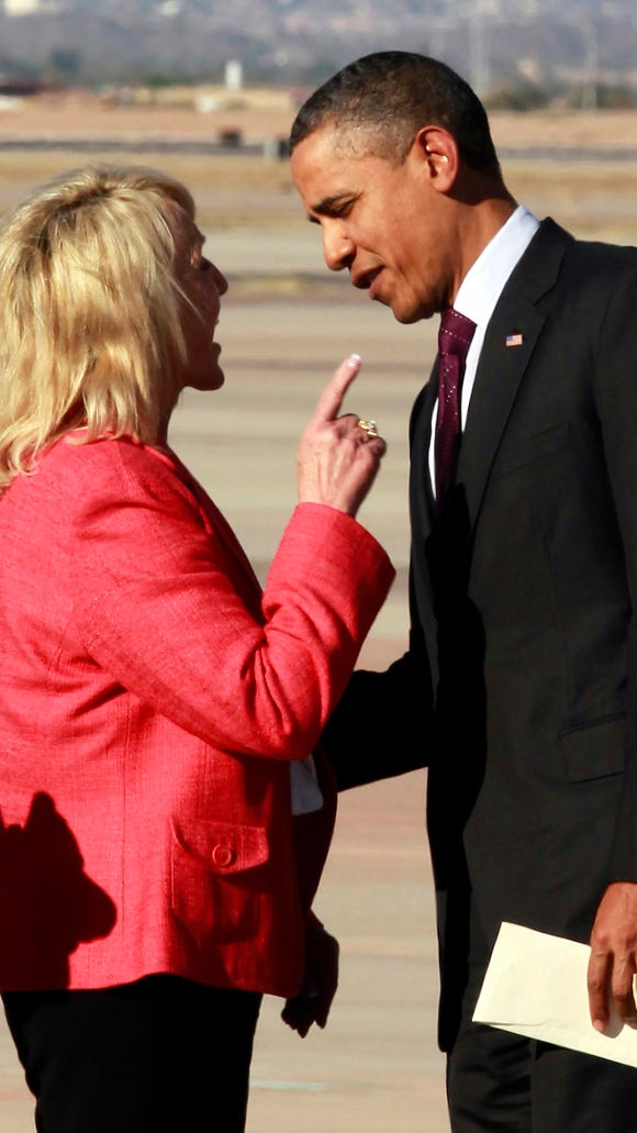 Gov. Jan Brewer created controversy by pointing her finger at President Barack Obama after he arrived at Phoenix- Mesa Gateway Airport in 2012.