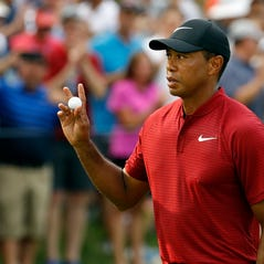 Brooks Koepka holds the Wanamaker Trophy after he won the PGA Championship golf tournament at Bellerive Country Club, Sunday, Aug. 12, 2018, in St. Louis. (AP Photo/Brynn Anderson)