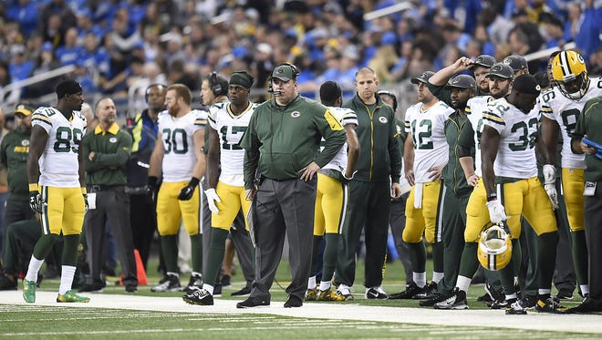 Green Bay Packers coach Mike Mc Carthy looks on from the sidelines against the Detroit Lions at Ford Field in Detroit.