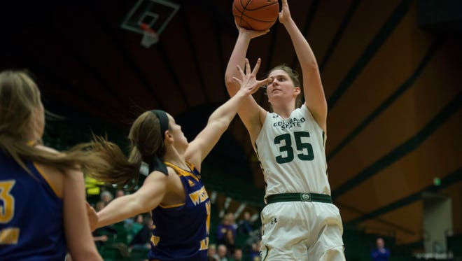 Lore Devos, shown putting up a shot during a WNIT game last season against Western Illinois, and her teammates on the CSU women's basketball team will kick off their 2018-19 season with exhibition games at 7 p.m. both Thursday and Friday night at Moby Arena.