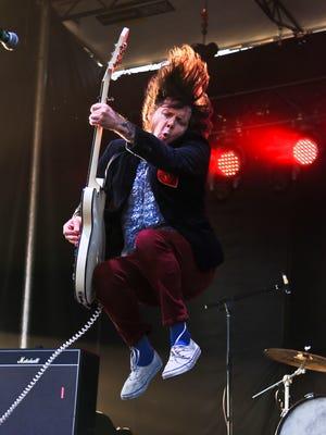 James Alex of Beach Slang helped put on a head banging show worthy of Angus Young as the Philadelphia group performed on the WFPK Port Stage Saturday evening at Forecastle Festival.