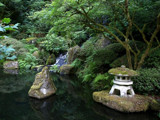 A view from the Zig Zag Bridge looks towards the Heavenly Falls at the Portland Japanese Garden.