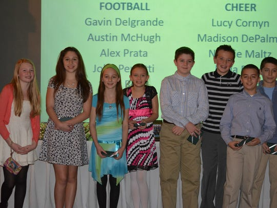 This year, 11 athletes from Hunterdon Huskies were named to the 2014-2015 NJAYF Scholar team and were recently acknowledged at the Hunterdon Huskies banquet. Honorees included, left to right: Bella Reed, Madison DePalma, Natalie Maltz, Ryli Stoker, Austin McHugh, Davin Wydner, Alex Prata, and Gavin Delgrande.