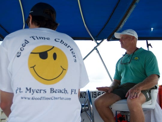 Phil Heubeck, left, and Gale Goranson lead a cruise recently in Estero Bay for Good Time Charters Dolphin Cruises.