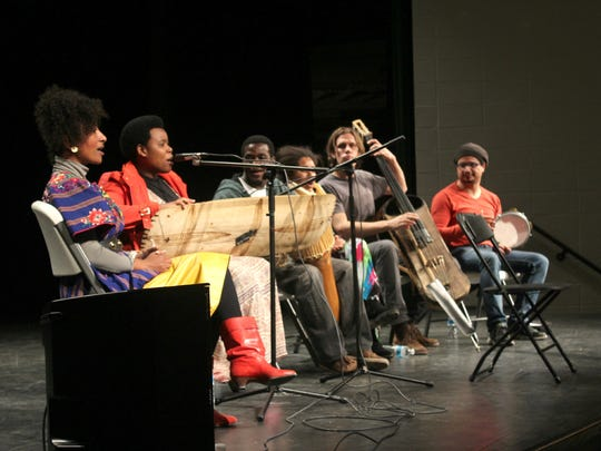 From left to right: Alsarah, Sophie Nzayisenga, Lawrence Okello, Selamnesh Zemene, Miles Jay and Hani Bedair of The Nile Project performed at West High on March 9, 2015.