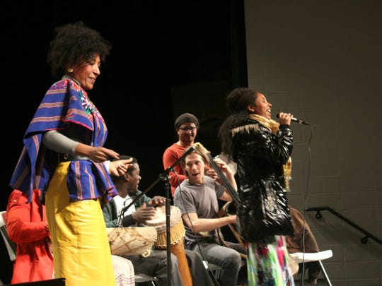 From left to right: Alsarah, Lawrence Okello, Hani Bedair, Miles Jay and Selamnesh Zemene, members of The Nile Project, performed for students at West High on March 9, 2015.