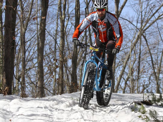 Riders compete in the Sweaty Yeti fat bike race on