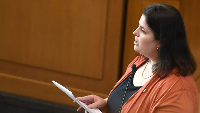 Rep. Julie Parrish, R-Tualatin/West Linn, speaks to members of the House on Wednesday, March 4, 2015, at the Oregon State Capitol in Salem.