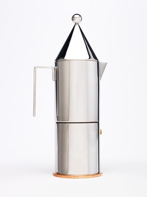 """This coffeepot designed by Aldo Rossi is on display in the Indianapolis Museum of Art's contemporary design wing. The three-piece steel and copper espresso maker is called """"La Conica."""""""