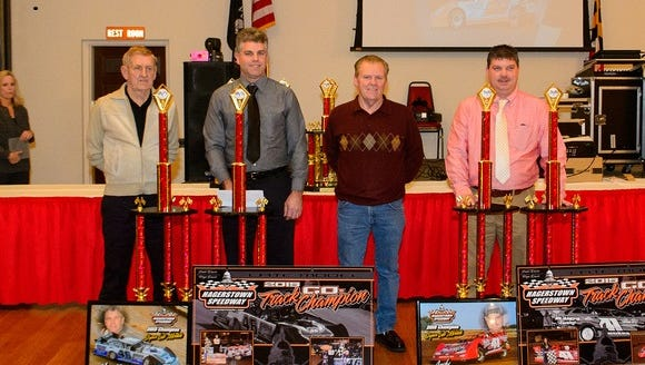 The Hagerstown Speedway Late Model championship ended in a co-championship. Shown above, left to right, are car owner Tex Shaffer and driver Marvin Winters, and owner Jack Bland and driver Andy Anderson.