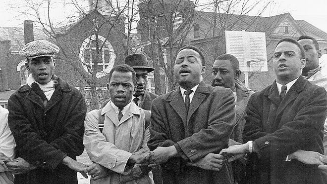 Bob Mants, John Lewis, Hosea Williams And Andrew Young With Brown's Chapel AME Church In The Background, March 7, 1965