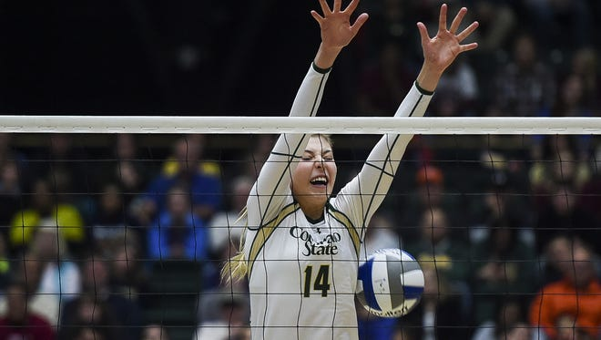 CSU volleyball's Alexandra Poletto, shown in a file photo, has been named the Mountain West's Defensive Player of the Week.