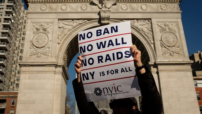 The one-year anniversary of President Trump's first travel ban executive order was the occasion for protests in New York City in January.