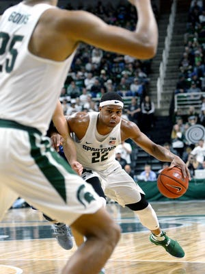 MSU used freshman Miles Bridges a number of ways in its exhibition opener - on the block, on the perimeter, handling the ball. Bridges finished with 33 points and made all five 3-point attempts.