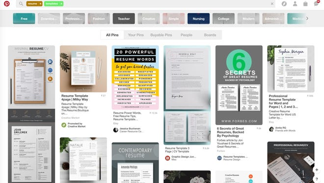 Resume templates galore! Once you figure out what you're going for, Pinterest is an awesome place to begin seeking inspiration on how to visualize that message.