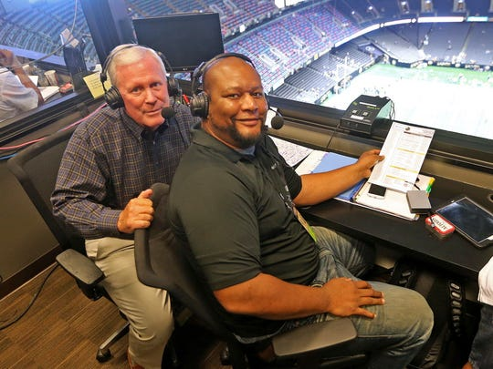 Jim Henderson and Deuce McAllister work the WWL broadcast booth during a 2016 preseason game between the Pittsburgh Steelers and New Orleans Saints at the Superdome.