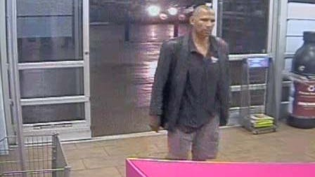 Police say they're looking for a man who is Black or Hispanic, 5-feet-8-inches tall, 160-200 pounds and bald. Surveillance images show the man wore a dark-colored polo and blazer with light-colored shorts.