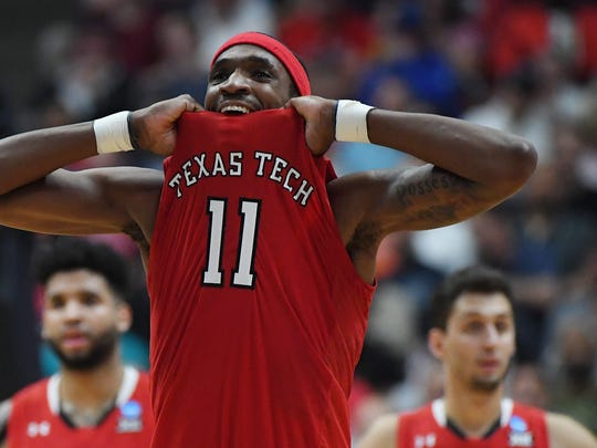ANAHEIM, CALIFORNIA - MARCH 30: Tariq Owens #11 of the Texas Tech Red Raiders reacts after being called for an offensive foulo against the Gonzaga Bulldogs during the second half of the 2019 NCAA Men's Basketball Tournament West Regional at Honda Center on March 30, 2019 in Anaheim, California. (Photo by Harry How/Getty Images) ORG XMIT: 775283849 ORIG FILE ID: 1139365734