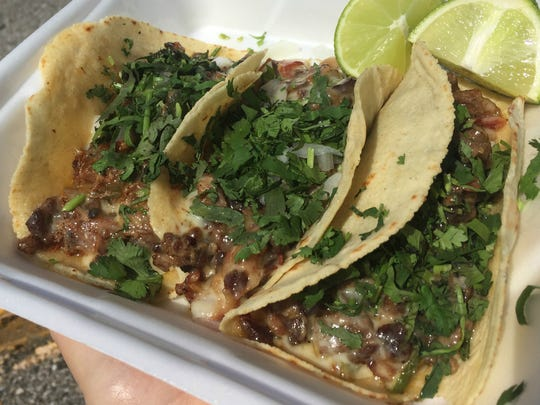 Tacos Alambre (beef, bacon and cheese) at Taqueria El Maguey, 5629 W. 38th St., Indianapolis.