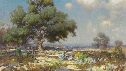 Julian Onderdonk exhibit of Impressionist landscapes of the Texas Hill County.