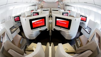 TAP Portugal's newest business-class cabin, seen aboard the carrier's first Airbus A330neo during a test flight before delivery on June 23, 2018 at Miami International Airport.