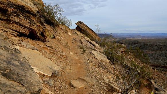 The Precipice Trail follows a narrow ledge for a portion