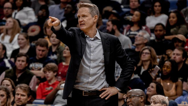 Golden State Warriors head coach Steve Kerr against the New Orleans Pelicans during the second half of a game at the Smoothie King Center.