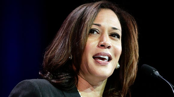 FILE - In this March 8, 2014, file photo, California Attorney General Kamala Harris speaks during a general session at the California Democrats State Convention in Los Angeles. Barbara Boxer announced Thursday, Jan. 8, 2015, that she will not seek re-election in 2016. Among likely Democratic candidates are Harris and Lt. Gov. Gavin Newsom, both of whom cruised to re-election last fall. Each offered statements Thursday praising Boxerís tenure, which will end in two years, but did not say if they will run in 2016. (AP Photo/Jae C. Hong, File) ORG XMIT: FX109