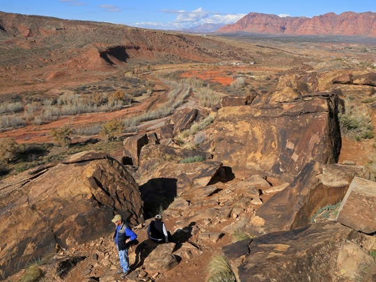 Dozens of petroglyphs panels can be found at the Land