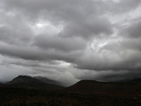 Clouds gather above the Black Ridge north of Toquerville, home to Lava Heights Academy.