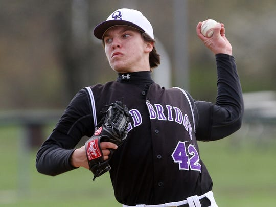 Zach Attianese of Old Bridge pitches against St. Joseph, Monday, April 27, 2015, in Metuchen, NJ.
