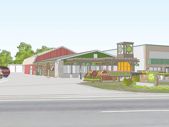 An architectural rendering shows a future Simply Fresh Market. Owners of the organic market plan to open in a much larger building, relocating from Brighton Township to just west of Brighton in Genoa Township.