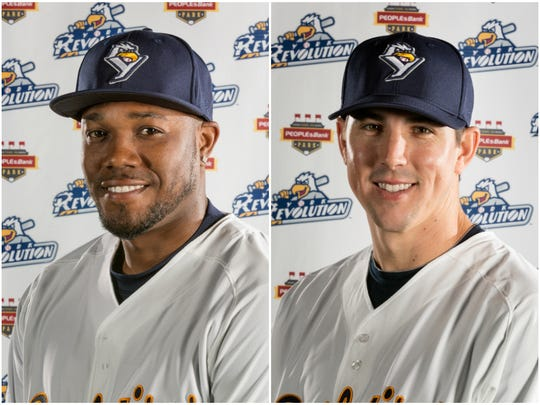 The York Revolution signed outfielder James Simmons, left, and right-handed pitcher James Simmons, right, on the same day. That happened to fall on April Fools Day.