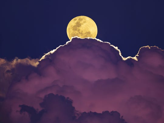 A supermoon looks 14 percent bigger and 30 percent brighter than an average moon.