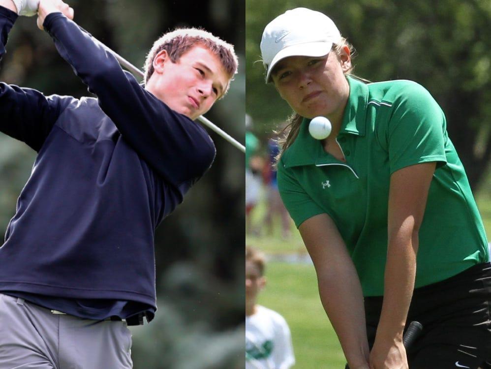 Washington's Will Grevlos (left) and USD's Katie Bartlett.