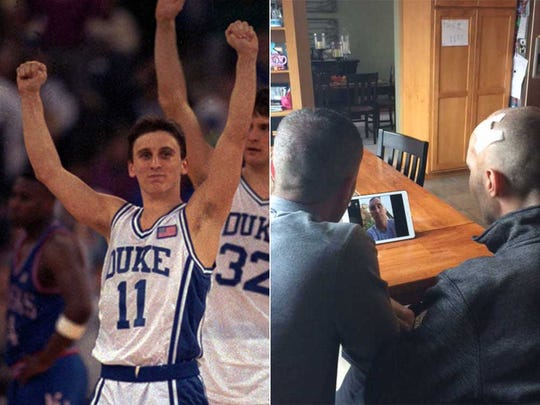 Shane and Shawn Green (right) got to meet their idol, Bobby Hurley (left) on a FaceTime call.