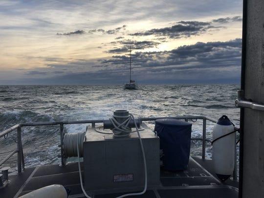 A Coast Guard 45-foot Response Boat-Medium crew from